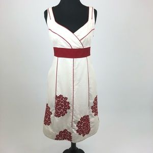Anthropologie Sz 6 Floreat Dress Red Embroidery